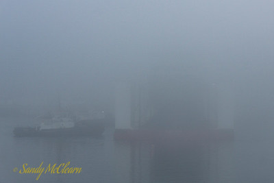 The future HARRY DEWOLF onboard Boa Barge 37 for launching. The shipside grey paint is blending in nicely with the fog.