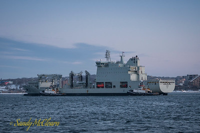 MV Asterix, the new interim Auxiliary Oiler Replenishment (AOR) for the Royal Canadian Navy, returns to port after a week of exercising with the fleet.