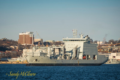 MV Asterix, the new interim Auxiliary Oiler Replenishment (AOR) for the Royal Canadian Navy, departs Halifax Harbour.