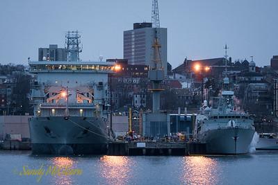 MV Asterix, the new interim Auxiliary Oiler Replenishment (AOR) for the Royal Canadian Navy, lies alongside in HMC Dockyard.