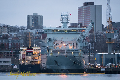 MV Asterix, the new interim Auxiliary Oiler Replenishment (AOR) for the Royal Canadian Navy, takes on fuel from Algoma Dartmouth in HMC Dockyard.
