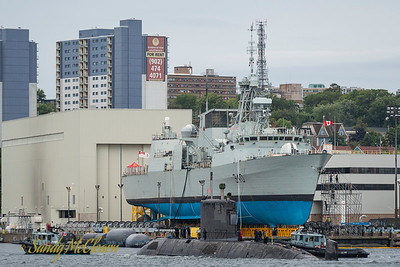 HMCS WINDSOR being cold moved in HMC Dockyard with HMCS ST. JOHN'S on the Syncrolift.