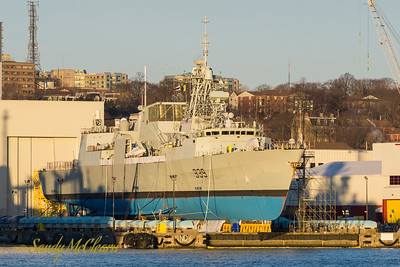 HMCS CHARLOTTETOWN on the syncrolift on March 24 with a clean bottom.