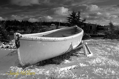 A lifeboat sits on shore on the Aspotogan Peninsula, Nova Scotia.
