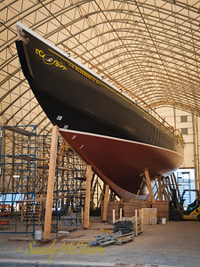 Bluenose II (the new one) in the builder's shed.