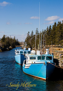 Cape Island stype fishing boats near Port Medway, Nova Scotia.