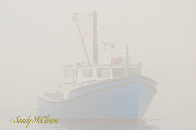 Cape Island style fishing boat in thick fog.