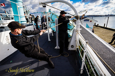 Heave! Recovering HMCS SACKVILLE's gangway.