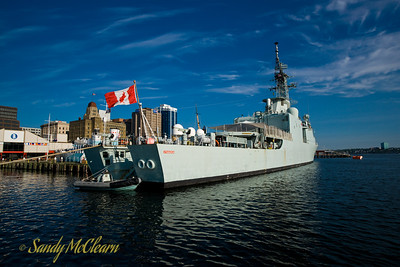 HMCS ATHABASKAN in the early morning.