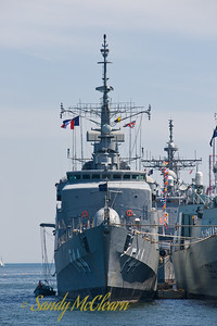 A head-on view of BNS INDEPENDENCIA. INDEPENDENCIA is a NITEROI class frigate of the Brazilian Navy.