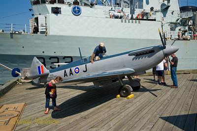 A 3/4 scale model of a Royal Canadian Navy Seafire, an aircraft that flew from HMCS WARRIOR in the 1950s. The model was built for the Nova Scotia International Tattoo in the 1990s, and has recently been restored.