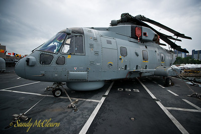A Merlin helicopter on HMS ARK ROYAL.