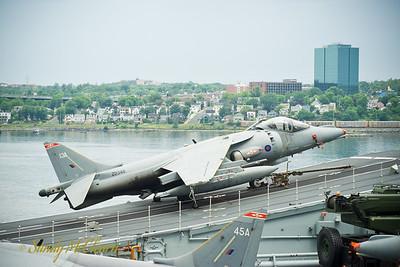 A Harrier strike jet sits on the ski-jump of HMS ARK ROYAL.