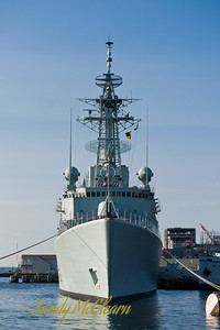 A bows-on view of HMCS ATHABASKAN. ATHABASKAN is an IROQUOIS class destroyer of the Canadian Navy.