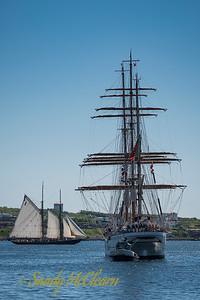 Bluenose II and Portuguese Navy sail training vessel SAGRES II.
