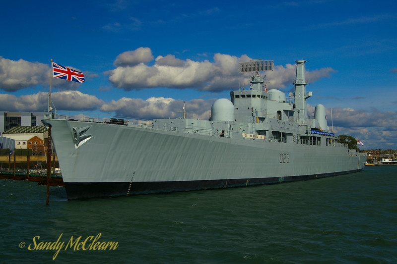 The former Type 82 Destroyer HMS BRISTOL alongside in Portsmouth, England. No longer in service, she serves as an accomodations vessel.