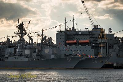 USS WINSTON S CHURCHILL (DDG 81), USS SAN JACINTO (CG 56), and USNS Robert E. Peary.