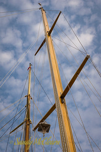 Wooden masts on two sloops.
