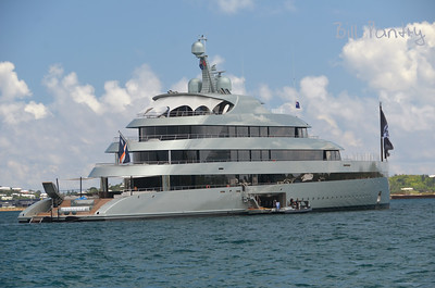 America's Cup Finals. Megayacht Savannah in The Great Sound, Bermuda