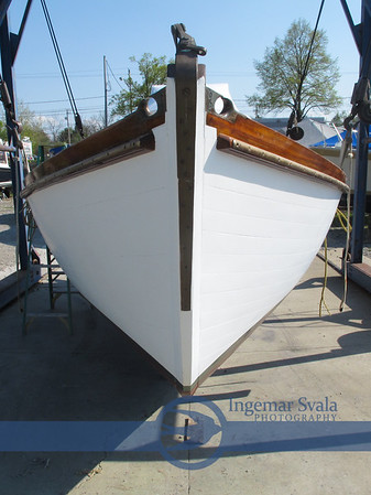 Moes Marine of Vermilion launching a 1942 Hereshoff 30 sailboat on May 8, 2015