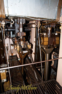 Piston rods in the engine room of the S.S. Jeremiah O'Brien.