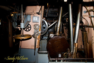 The piston rods and crank shaft of the S.S. Jeremiah O'Brien's triple expansion steam engine.