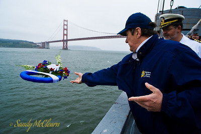 A wreath is thrown in the bay from the S.S. Jeremiah O'Brien.