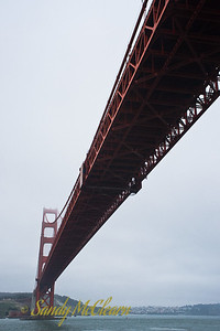 The Golden Gate Bridge from below.