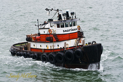 The tug Sagittarian in a bit of chop outside San Francisco harbour.