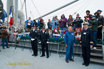 The wreaths will be thrown from the ship into the Golden Gate.