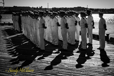 Crew of the Colombian Navy barque A.R.C Gloria gathered on Colombian Independence Day.