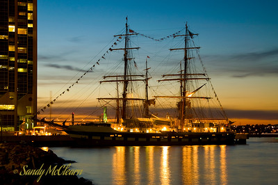 The brig Prince William at dusk.