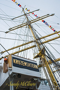 The main mast and bridge on the Russian full rigged ship Kruzenshtern.