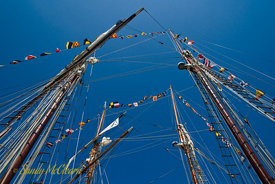 The masts of the French sail training ships Belle Poule and Etoile.