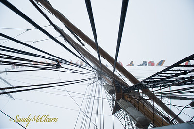 Looking up the main mast of the US Coast Guard Barque Eagle.