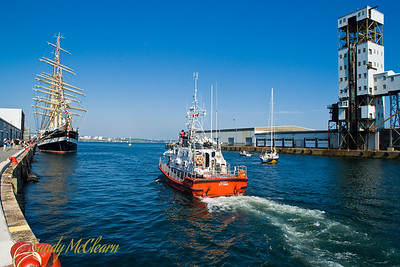 The Canadian Coast Guard lifeboat Spray is based in Sambro, and was patrolling the waterfront during Tall Ships.