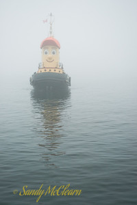 Theodore Too emerges from the fog in Halifax Harbour. Imagine being a hung-over fisherman coming across this sight while out checking nets one morning - you would probably think it was time to start drinking again! (The author does not mean to imply anything about the drinking habits of Nova Scotia fisherman.)