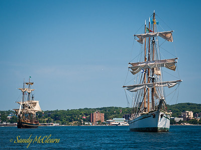 HMS Bounty and Gazela start off for the sailpast.