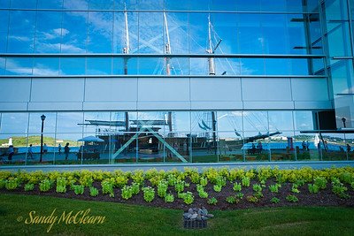 Peacemaker is reflected in the new Nova Scotia Power building at Tall Ships Quay.