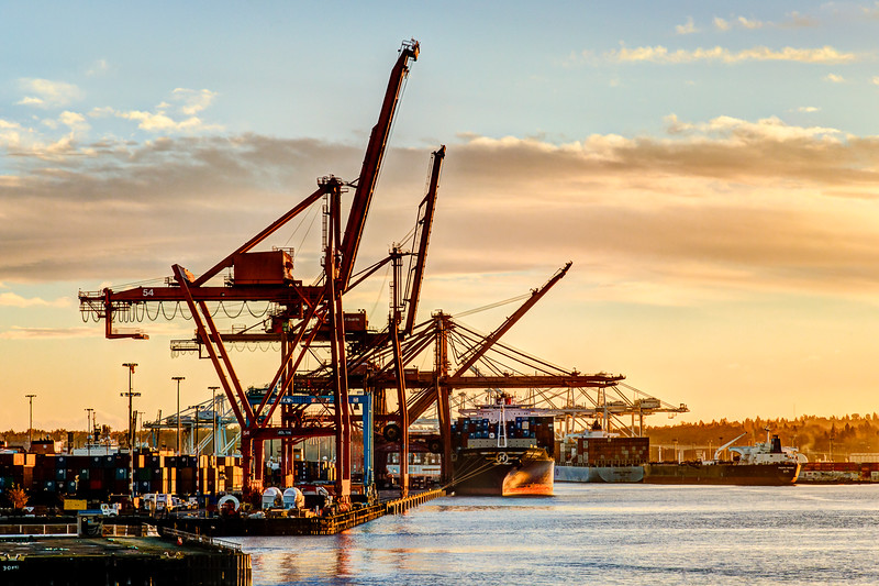 Sunset at the Port of Seattle