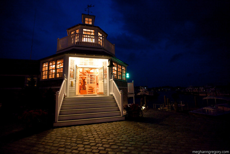The lighthouse at Nautics Marina gives a perfect backdrop for your Cape Cod wedding. (Photo by Meghann Gregory Photography)