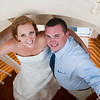 Bride and groom take a photo in the lighthouse at Nautics. (Photo by Meghann Gregory Photography)