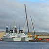 Type 45 Frigates D32_Daring (on inside) and D33_Dauntless fitting out at Scotstoun _large mobile cranes in use