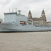 RFA 3007 Lyme Bay at Liverpool landing stage with Liver building behind