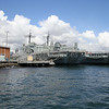 HMAS Kanimbla (L 51) (inside) and HMAS Manoora (L 52) outside.  Both withdrawn from service 2011 (and scrapped 2013) after arrival of HMAS Choules (L100) formerly RFA Largs Bay