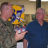 Staff Sgt Cheney speaks with Nice Guys President  Craig Meier about the needs of Marine patients.