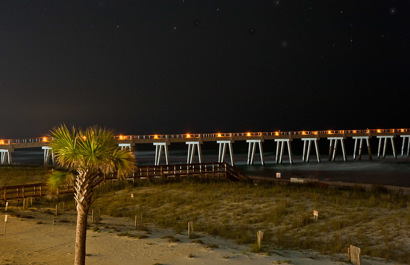 Late night shot of the Pier