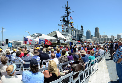 The POW/KIA ceremony on board the USS Midway Museum.  Mac McLaughlin speaking to the gathered Intruders!
