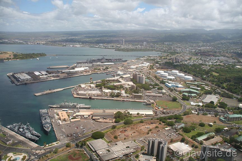 Aeriel view of Sub Base Pearl Harbor - Sub Base Barracks 654 Paquet Hall, (U shaped Building)  in center of photo in front of tower buildings.