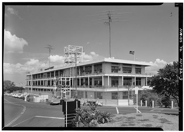 CINCPAC/CINCPACFLT Headquarters Building, Makalapa Drive, Honolulu HI.  Southeast (Rear) and Northeast (Side) Elevations. July, 1966